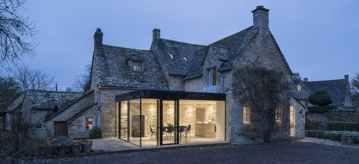 glass extension to listed building