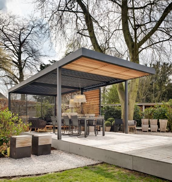 Umbris louvre roofs for gardens and patios featured for Outdoor kitchen roof structures